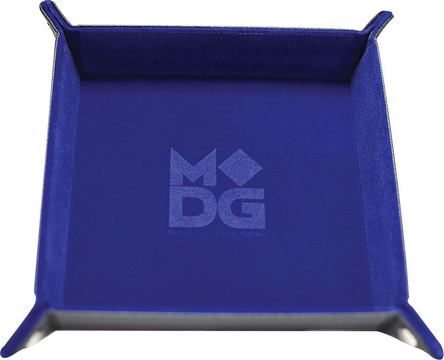 "10""x10"" Velvet Folding Dice Tray w/ Leather Backing - Blue"