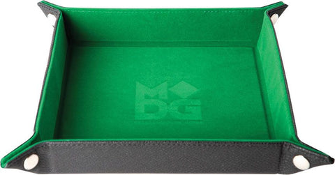 "10""x10"" Velvet Folding Dice Tray w/ Leather Backing - Green"