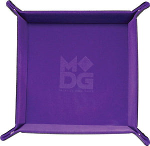 "10""x10"" Velvet Folding Dice Tray w/ Leather Backing - Purple"