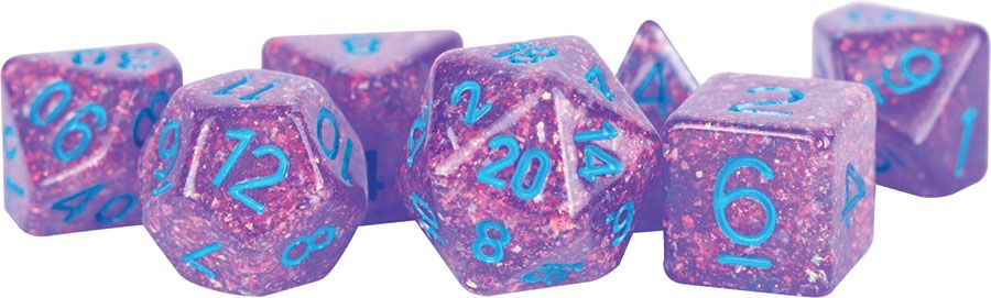 Flash: 16mm Resin Poly Dice Set - Purple (7)
