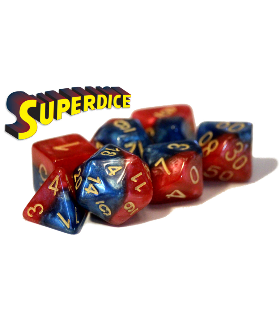 Halfsies Dice: Poly - Super w/ Upgraded Case (7)