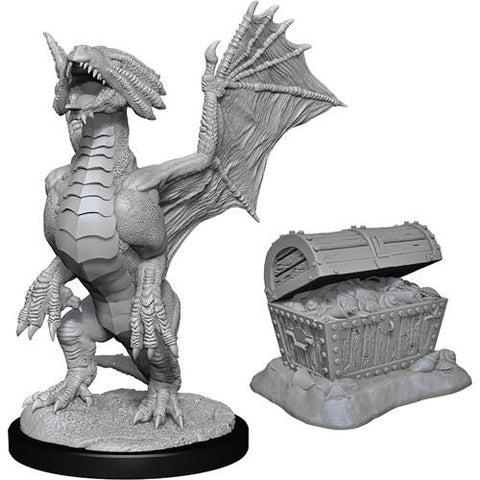 Nolzur's Marvelous Unpainted Miniatures - Bronze Dragon Wyrmling & Pile of Sea found Treasure