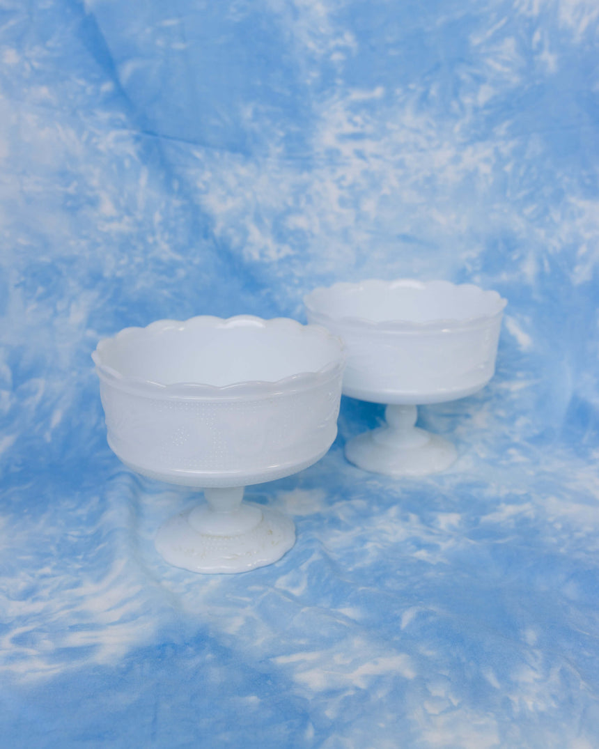 E.O. Brody Co. Milk Glass Pedestal Bowls