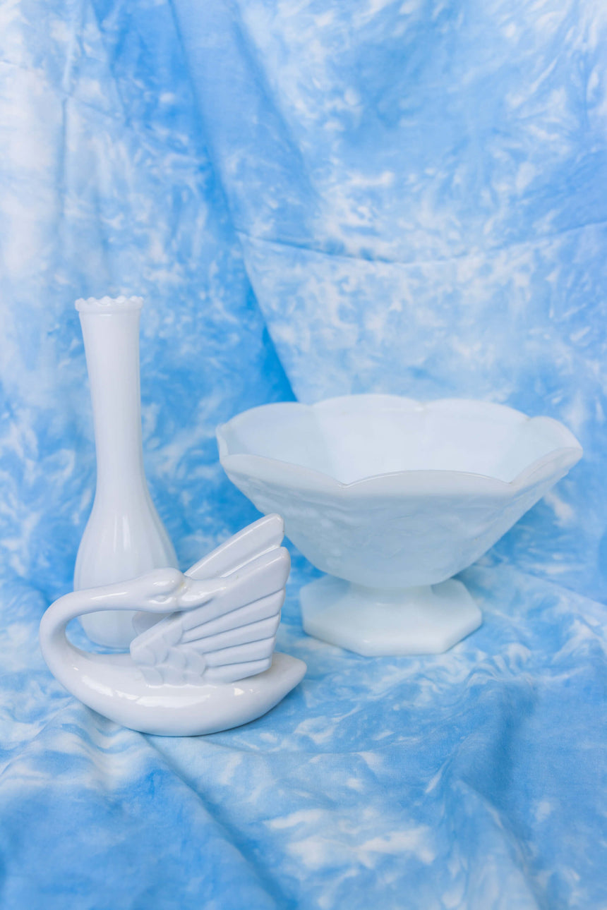 Large Milk Glass Pedestal Bowl