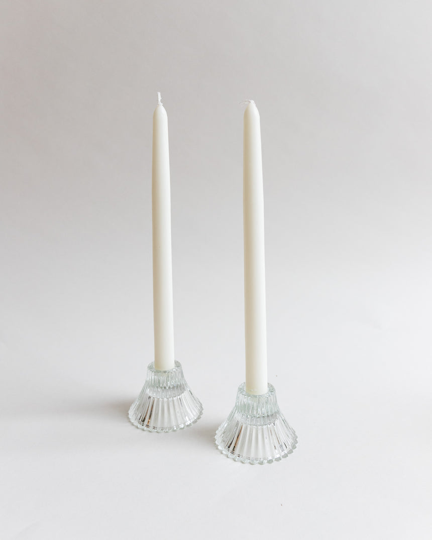 Pair of Fluted Art Deco Style Candle Holders