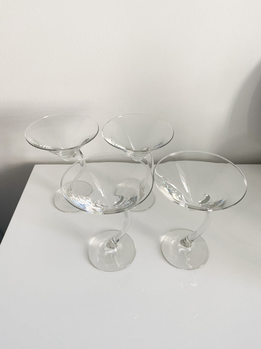Libbey Long Stemmed Curved Martini Glasses (set of 4)
