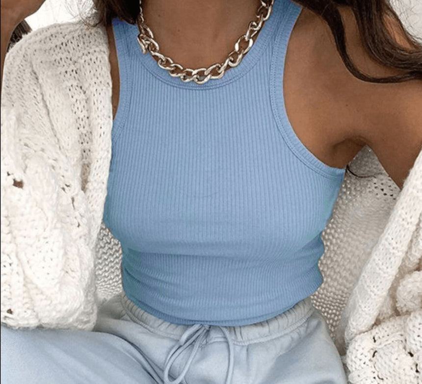 Sky Blue Ribbed Crop Top [S] Tops Capsule The Brand