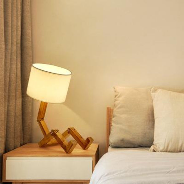 Robot Shaped Wooden Table Lamp, Modern Creative Bedside Night Light