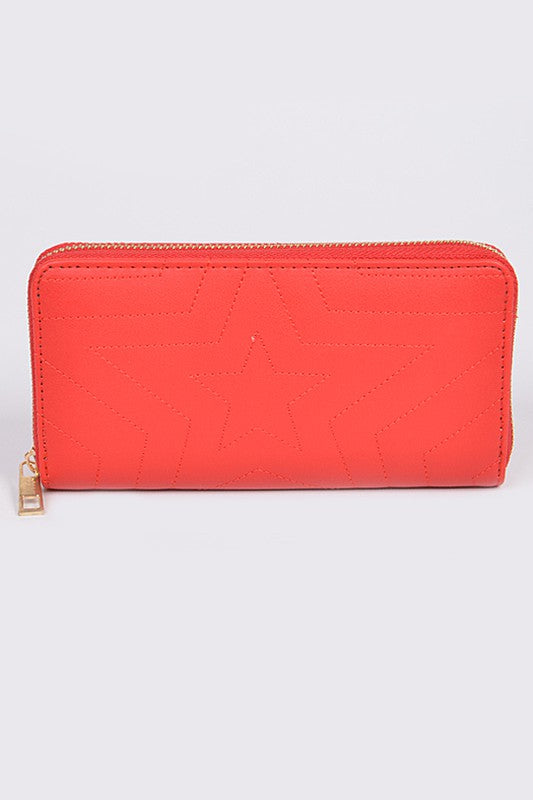 Star Gazing Red Quilted Long Wallet