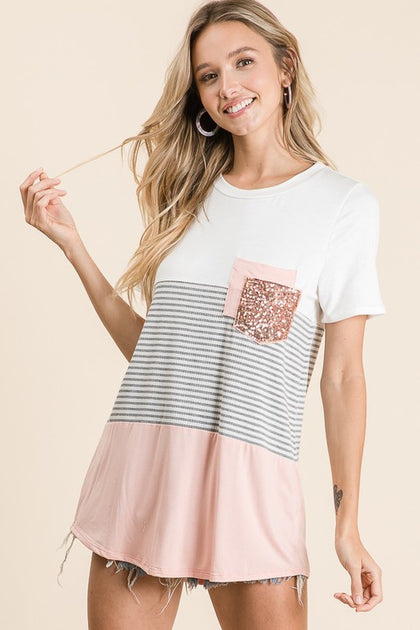 Sparkle Like It's Hot Color Block Short Sleeve Top