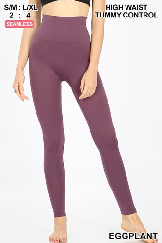 Moving On Up Solid Plum Leggings - Bella Grace Boutique