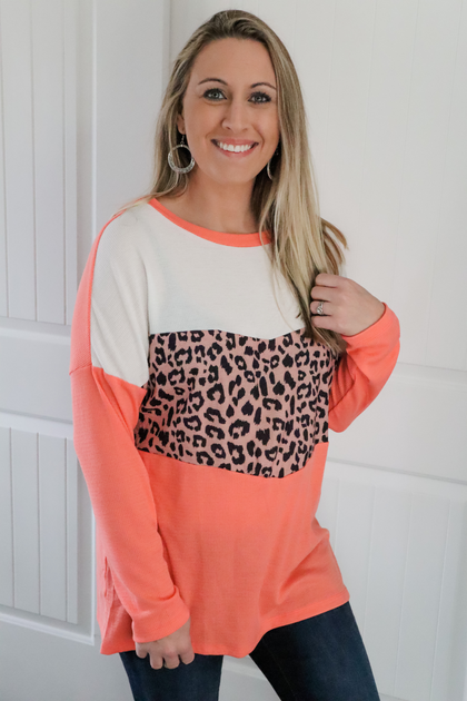 Dare to Love Light Red Long Sleeve Animal Print Top
