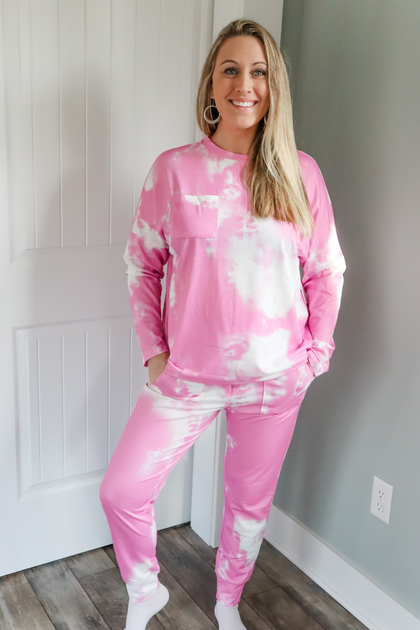 Cotton Candy Dreams Long Sleeve Pink Lounge Set