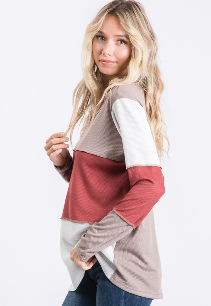 Autumn Bliss Color Block Top