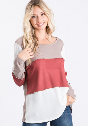 Autumn Bliss Color Block Top - Bella Grace Boutique