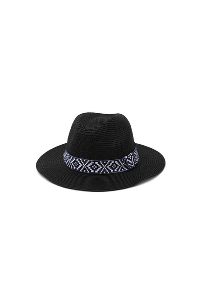 Beach Please Black Panama Hat