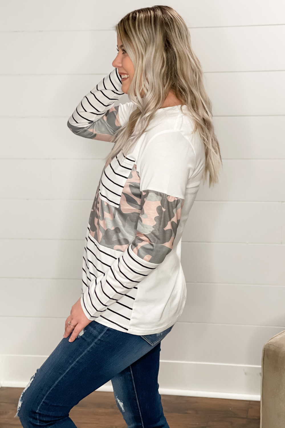Cherish Every Moment Camo Long Sleeve Top