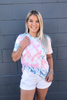 Cotton Candy Tie-dye Tee with Cuffed Sleeves