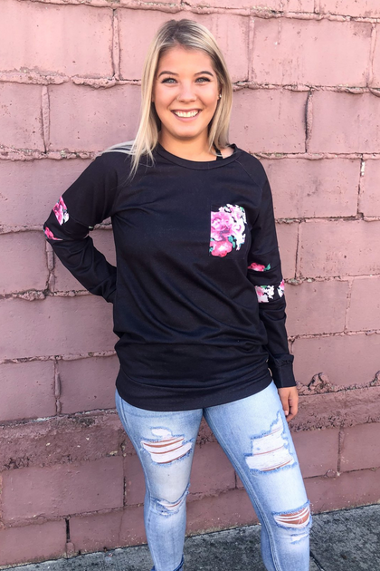 Smell The Roses Black Long Sleeve Top