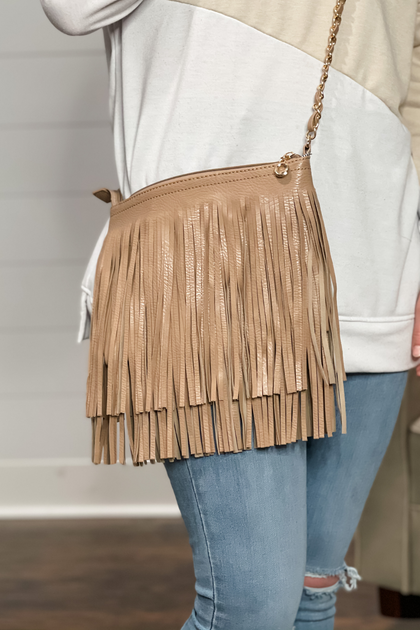 Take Me Out Tan Fringe Handbag