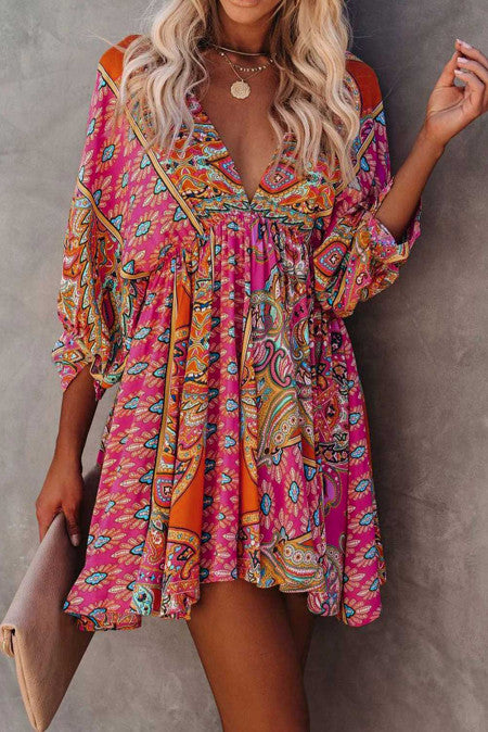 Bohemian Love Multi Colored Vintage Mini Dress