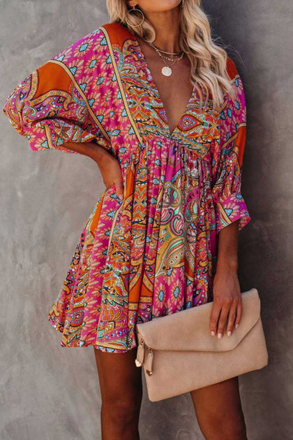 Bohemian Love Multi Colored Vintage Mini Dress - Bella Grace Boutique
