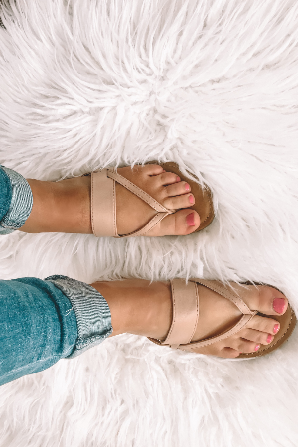 Walking On Air Strappy Nude Sandals