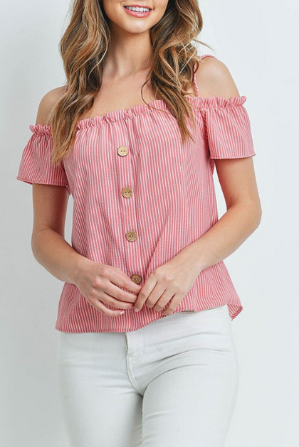To Be Loved By You Red Off The Shoulder Striped Top