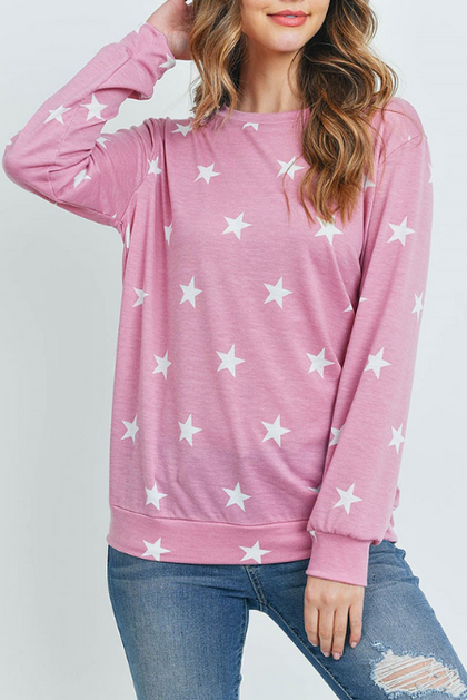 Star Spangled Pink Long Sleeve Pullover