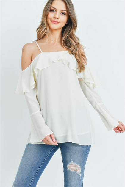 Ruffled  Ivory Long Sleeve Top