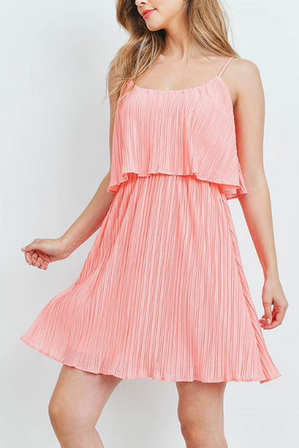 Stay Peachy Pleated Flare Dress