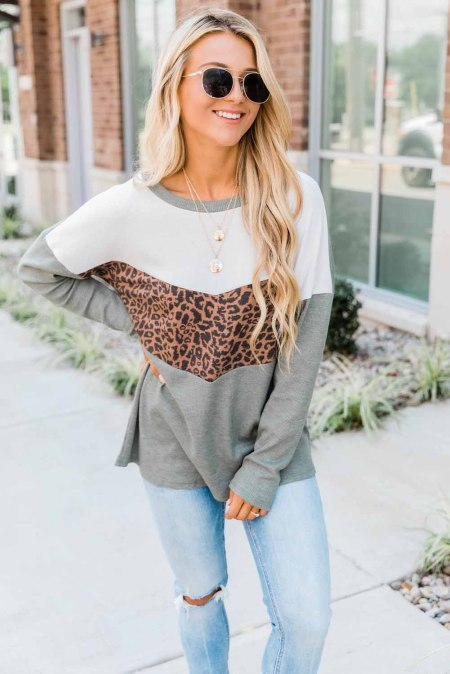 Dare to Love Olive Green Long Sleeve Animal Print Top