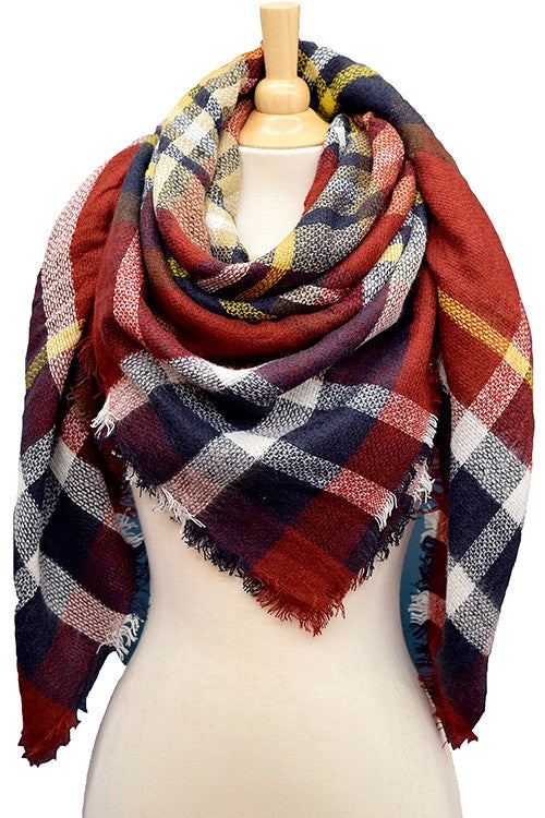 Days of Fall Plaid Multi Colored Blanket Scarf