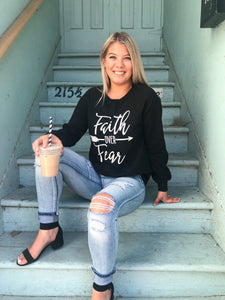 Faith Over Fear Long Sleeve Black Top - Bella Grace Boutique