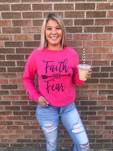 Load image into Gallery viewer, Faith Over Fear Long Sleeve Pink Top - Bella Grace Boutique