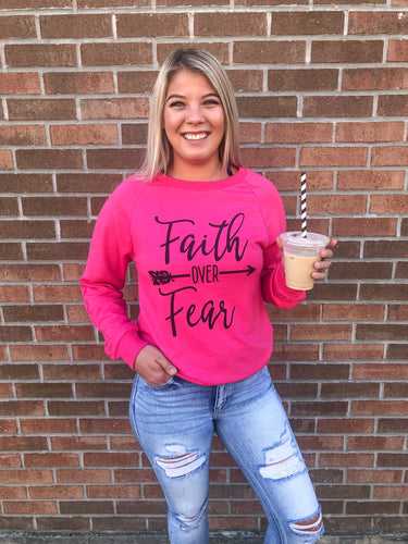 Faith Over Fear Long Sleeve Pink Top - Bella Grace Boutique