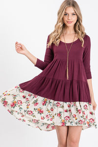 Flowers in Autumn Burgundy Dress - Bella Grace Boutique