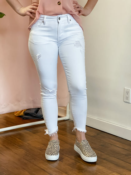 Mid Rise Distressed Ankle Skinny White Jeans