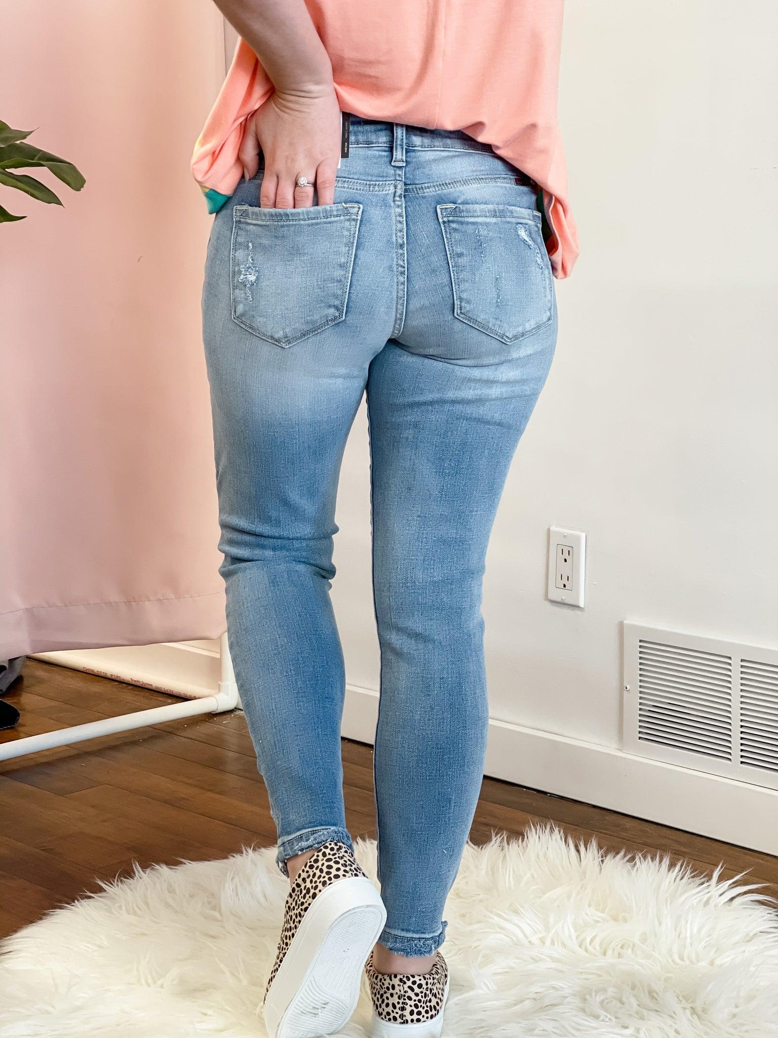 Mid Rise Distressed Skinny Light Blue Jeans