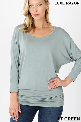 I'm Your Favorite Sage Ruched Waistline Top - Bella Grace Boutique
