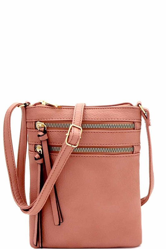 Multi Pocket Cross Body Mauve Bag