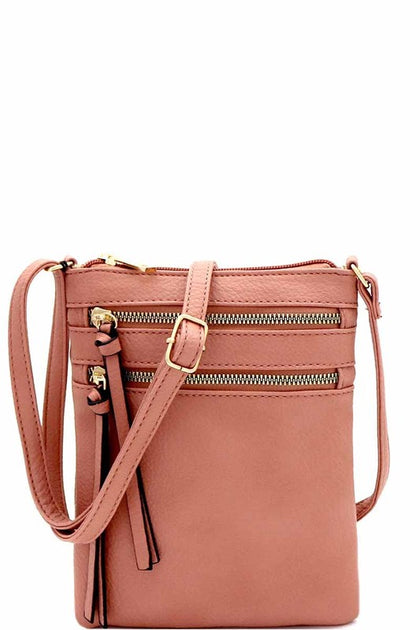 Multi Pocket Cross Body Mauve Bag - Bella Grace Boutique