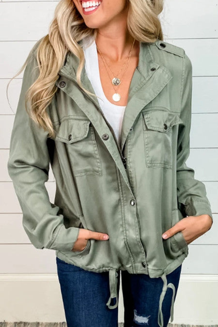 Olive Long Sleeve Jacket with Front Pocket Details