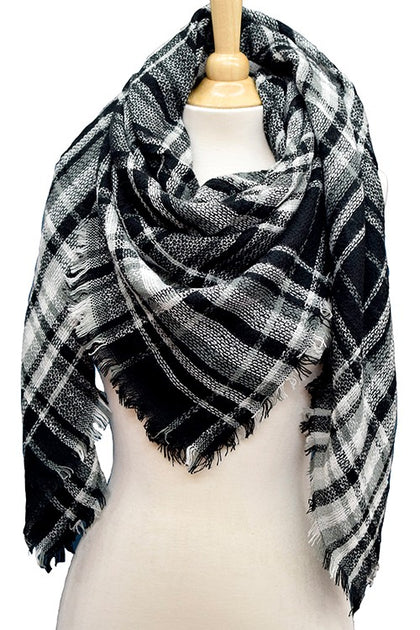 Opposites Attract Plaid Multi Colored Blanket Scarf - Bella Grace Boutique