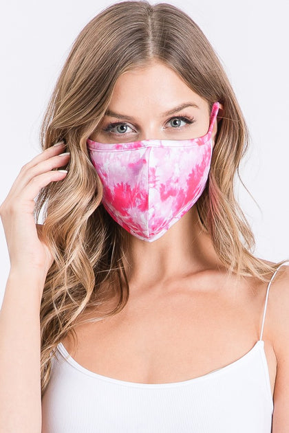 Pink Tie Dye Mask - Bella Grace Boutique