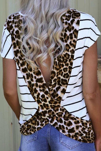 Plot Twist Open Back White Leopard Print Top - Bella Grace Boutique