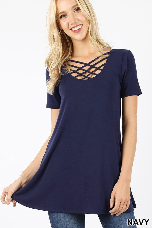 Remember When Navy Blue Lattice Top - Bella Grace Boutique