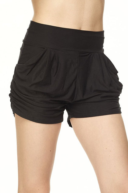 Sweet Nothings Solid Black Harem Shorts - Bella Grace Boutique