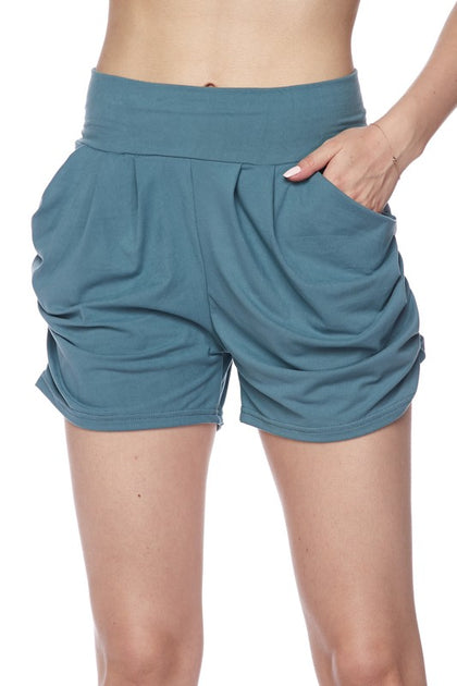 Sweet Nothings Solid Teal Harem Shorts - Bella Grace Boutique