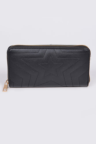Star Gazing Black Quilted Long Wallet - Bella Grace Boutique